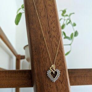 Jewelry - Vintage 14k Yellow Gold Diamond Heart Necklace